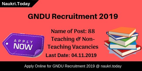 GNDU Recruitment 2019