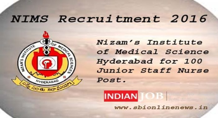 NIMS Recruitment 2016