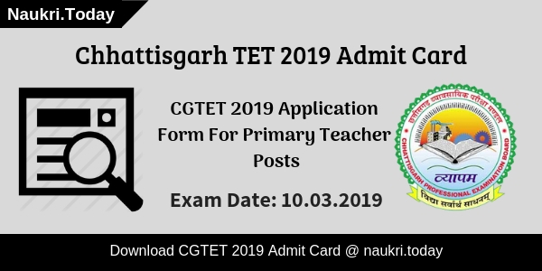 CGTET 2019 Admit Card