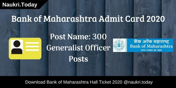 Bank of Maharashtra Admit Card 2020