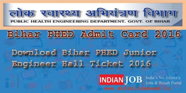 Bihar PHED Admit Card 2016