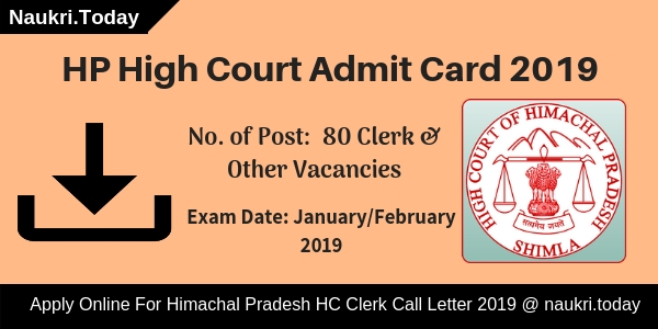 HP High Court Admit Card 2019