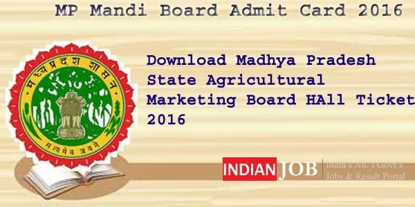 MP Mandi Board Admit Card 2016