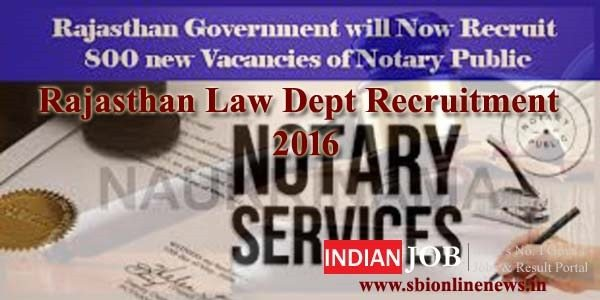 Rajasthan Law Dept Recruitment 2016