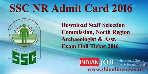 SSC NR Admit Card 2016