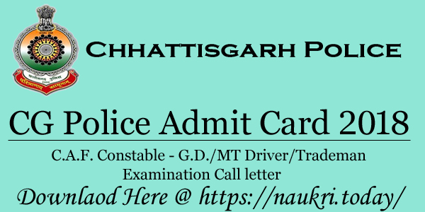 CG Police Admit Card 2018
