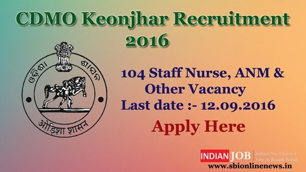 CDMO Keonjhar Recruitment 2016