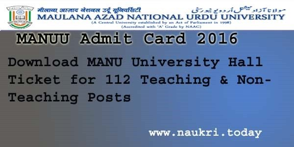 MANUU Admit Card 2016