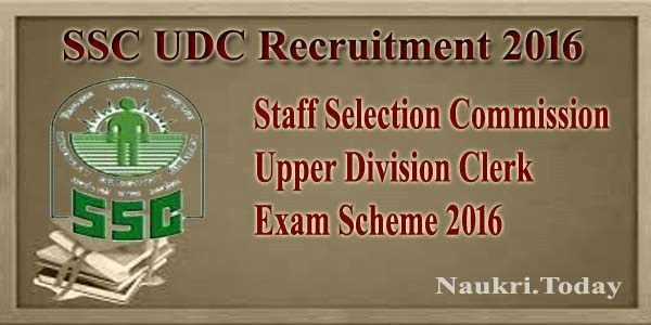 SSC UDC Recruitment 2016