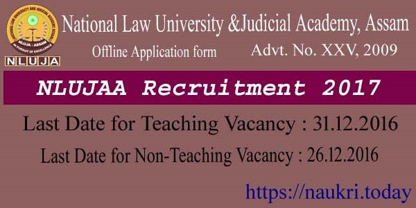 NLUJAA Recruitment 2017