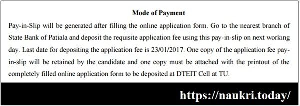 PSBTE Recruitment 2017 Application Fee Payment Process