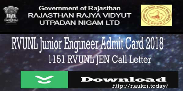 RVUNL Junior Engineer Admit Card