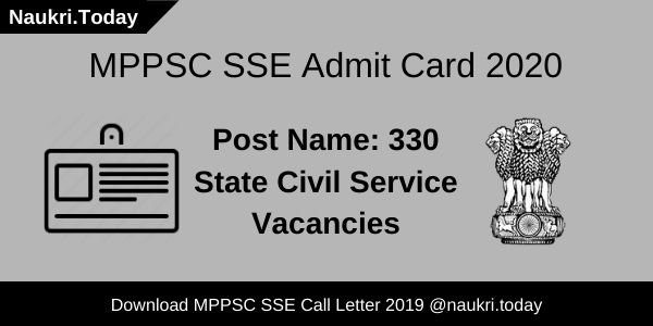 MPPSC SSE Admit Card