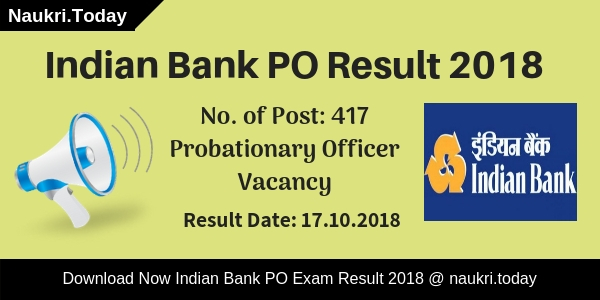 "<p>Have you participate in Indian Bank Probationary Officer Prelims Exam 2018??? If yes, then you also waiting for <strong>Indian Bank PO Result 2018</strong> for Prelims Exam. You visit a right place, here you get all information regarding Indian Bank PO Exam Result 2018. The department has conducted Probationary Officer Preliminary examination on 06th October 2018. After that, the bank will conduct main examination according to how many candidates are qualified the Prelims examination? You can collect your <strong>Indian Bank PO Prelims Result</strong> on 17th October 2018 (Tentative date). Candidates can download their scorecard using registration no. and password information. Rest of information you can collect on below paragraphs.</p> <p>Indian Bank will announce Probationary Officer Prelims Exam Result 2018. Those candidates have participated in the examination are eagerly waiting to download <strong>Indian Bank PO 2018 Result</strong>. Applicants those are qualified preliminary examination can participate in the mains examination. Indian Bank PO Main Exam 2018 will going to held on 04.11.2018. Furthermore, such as how to collect <strong>Indian Bank Probationary Officer Result</strong>? & other you may require to read full article properly.</p> <h2>What is the Summary of Indian Bank PO Result 2018? Indian Bank Probationary Officer Prelims Result</h2> <p>Name of Bank: Indian Bank<br>Available no. of posts: 417 Vacancies<br>Name of Post: Probationary Officer<br>Exam Name: Indian Bank PO Exam 2018<br>Category: Indian Bank PO Exam Result<br>Date of Preliminary Examination: 06th October 2018<br>Main Examination Date: 24.10.2018<br>Declaration of Indian Bank PO Prelims Result 2018: 17th October 2018<br>Mains Exam of Probationary Officer held on: 04th November 2018<br>Status of Indian Bank PO Result 2018: Available Soon<br>Official website: indianbank.in</p> <h3><em>Highlights of Indian Bank Probationary Officer Exam 2018</em></h3> <p>The Indian Bank had issued notification for filling up 417 vacancies of Probationary Officer. The release date of notification is 01.08.2018. <a href=""https://www.naukri.today/indian-bank-recruitment/"" target=""_blank""><strong>Indian Bank PO Jobs</strong></a> online application form is available from 01.08.2018 to 27.08.2018. Applicants will get select according to Preliminary Examination, Main Examination and Interview. Indian bank has conducted Probationary Officer Preliminary Examination on 06th October 2018. A large number of applicants have participated in the examination. </p> <p>Now the applicants are eagerly waiting for Indian Bank PO Result 2018 of Prelims Exam. The department will announce Indian Bank PO Prelims Result on 17th October 2018. Applicants can collect their scorecard either here or official site. In below section, we also mentioned the direct link to download Indian Bank PO Exam Result 2018. Those candidates are quality the prelims exam are eligible to participate in mains examination. The PO Main Exam will held on 04th November 2018. So must qualify the prelims exam to appear in next round and collect your Indian Bank Probationary Officer Result from here.</p> <h2>Selection Procedure of Indian Bank Probationary Officer Exam 2018 – Check PO Main Exam Pattern</h2> <p>Selection of the candidates will made on the basis on performance in Prelims Exam, Main Exam and Personal Interview. Final selection will made according to marks obtained in Mains Exam and Interview. Therefore, first applicants must qualify the preliminary exam then after how to crack Indian Bank PO Main Exam tips is mention below.</p> <h3>What is the Exam Pattern of Indian Bank PO Mains Exam 2018?</h3> <p>Those candidates are check Indian Bank PO Result 2018 and qualify the examination also check Main Exam pattern to get good marks in the exam. Indian Bank will organize mains examination on 04th November 2018.  There are 200 objective Multiple questions asked which carry 200 marks. Duration of objective question paper is 60 minutes. 02 descriptive questions also asked in the examination. The descriptive paper carry 50 marks and the duration will be 30 minutes. Applicants must read Main examination pattern, which is given as under.</p> <table style=""width: 100%"" border=""2""> <tbody> <tr> <th>Section</th> <th>No of Questions</th> <th>Maximum Marks</th> <th>Time of Duration</th></tr> <tr> <th colspan=""4"">Objective type Test</th></tr> <tr> <td>Reasoning</td> <td>50</td> <td>50</td> <td rowspan=""5"">Composite time of 1 hour</td></tr> <tr> <td>English language</td> <td>40</td> <td>40</td></tr> <tr> <td>Quantitative Aptitude</td> <td>50</td> <td>50</td></tr> <tr> <td>General Awareness(with special reference to Banking Industry)</td> <td>40</td> <td>40</td></tr> <tr> <td>Computer Knowledge</td> <td>20</td> <td>20</td></tr> <tr> <td>Total</td> <td>200</td> <td>200</td> <td>–</td></tr> <tr> <th colspan=""4"">Descriptive type Test</th></tr> <tr> <td>English Language (Letter Writing & Essay)</td> <td>02</td> <td>50</td> <td>30 minutes</td></tr></tbody></table> <p>To download Indian Bank PO Mains Exam Syllabus <a href=""https://www.naukri.today/indian-bank-po-syllabus/"" target=""_blank""><strong>Click Here</strong></a>.</p> <h2>How Many Marks Secured in Preliminary Exam to Attend Next Round? Indian Bank PO Cut Off Marks</h2> <p>Applicant those want to attend the mains examination must qualify the preliminary exam. Check your marks on your Indian Bank PO Result. Then after check, the minimum qualifying marks to attend the next round. It is necessary, because those candidates have minimum qualifying marks are eligible to attend the mains examination. The department will announce Indian Bank PO Prelims Cut Off Marks according to subject wise and category wise. Here we mention, expected Indian Bank PO Cut off Marks, which is mention as under.</p> <h3><em>Section Wise Indian Bank PO Prelims Exam Cut Off Marks</em></h3> <table width=""100%""> <tbody> <tr> <th>Sections</th> <th>General</th> <th>OBC</th> <th>SC</th> <th>ST</th></tr> <tr> <td>English</td> <td>10-12</td> <td>8-10</td> <td>6-8</td> <td>4-6</td></tr> <tr> <td>Reasoning</td> <td>13-15</td> <td>10-12</td> <td>7-9</td> <td>4-6</td></tr> <tr> <td>Quant</td> <td>10-12</td> <td>9-11</td> <td>7-9</td> <td>6-8</td></tr></tbody></table> <p><em>Overall Indian Bank PO Minimum Qualifying Marks – Category Wise</em></p> <table width=""100%""> <tbody> <tr> <th>Category</td> <th>Overall PO Exam Cut Off</td> </tr> <tr> <td>General</td> <td>55-60</td></tr> <tr> <td>OBC</td> <td>48-53</td></tr> <tr> <td>SC</td> <td>38-43</td></tr> <tr> <td>ST</td> <td>35-40</td></tr></tbody></table> <h2>How to Download Indian Bank PO Result 2018? Collect Indian Bank Prelims PO Result</h2> <p>Applicants can collect their Prelims PO Exam Result through online mode. The link to collect Indian Bank PO Exam Result is available here as well as official site. If you can't understand how to get your Indian Bank PO Scorecard then you can follow some easy steps.</p> <ul> <li>First of all go to the official site indianbank.com</li> <li>Click on the link collect Indian Bank PO Prelims Exam Result 2018.</li> <li>Then a new window will open on your screen.</li> <li>Enter your registration no. and password on the given dialogue box.</li> <li>Submit your information and then again a new window will open.</li> <li>Your Indian Bank PO Result is now available in front of you.</li> <li>You can directly download it to click on below link.</li></ul> <h3>Important Links to Download Indian Bank PO Prelims Result 2018</h3> <p><strong>Collect Here Indian Bank Probationary Officer Result 2018 (Available Soon)<br></strong><a href=""https://www.naukri.today/indian-bank-recruitment/"" target=""_blank""><strong>Get Here PO 2018  Recruitment Notification</strong></a><br><a href=""https://www.naukri.today/indian-bank-admit-card/"" target=""_blank""><strong>Download Indian Bank PO Hall Ticket 2018</strong></a></p> <p><strong>You May Also Check:<br></strong><a href=""https://www.naukri.today/rsmssb-ldc-result/"" target=""_blank""><strong>Rajasthan RSMSSB LDC Exam Result 2018</strong></a><br><a href=""https://www.naukri.today/rrb-alp-result/"" target=""_blank""><strong>Railway RRB Loco Pilot & Technician Result 2018</strong></a><br><a href=""https://www.naukri.today/niacl-result/"" target=""_blank""><strong>NIACL Mains Exam 2018 Result</strong></a><br><a href=""https://www.naukri.today/rpsc-ras-result/"" target=""_blank""><strong>Rajasthan RAS Exam 2018 Prelims Result</strong></a><br></p> <p><strong><font color=""#ff0000"">Conclusion:</font></strong> Indian Bank will announce Probationary Officer Result 2018. The tentative date to collect Indian Bank PO Result is 17th October 2018. Applicants can download their Probationary Officer Exam Result to click on above links. After that, qualify candidates will call to attend the mains examination.</p>"