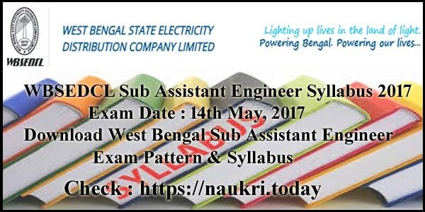 WBSEDCL Sub Assistant Engineer Syllabus 2017
