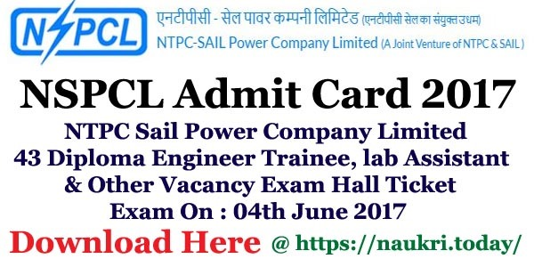 NSPCL Admit Card 2017