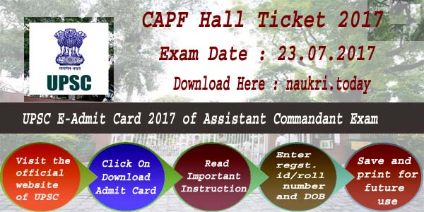 CAPF Hall Ticket 2017