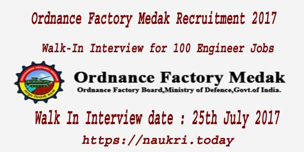 Ordnance Factory Medak Recruitment 2017