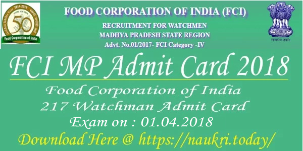 FCI MP Admit card 2018