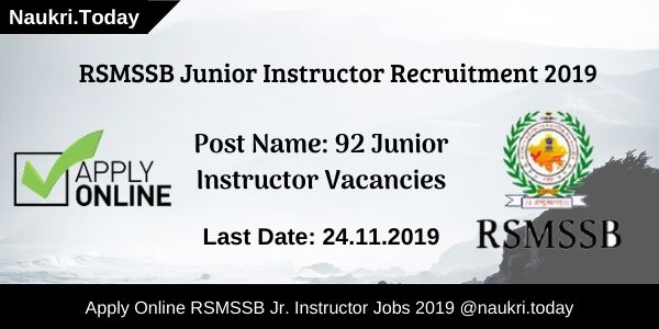 RSMSSB Junior Instructor Recruitment