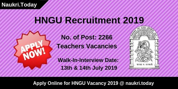 HNGU Recruitment