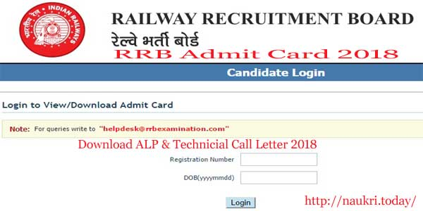 RRB ALP Admit Card