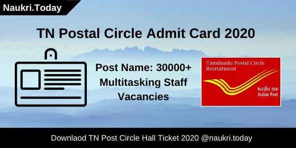 TN Postal Circle Admit Card 2020