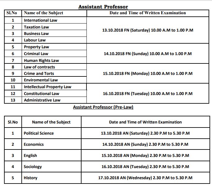 TN TRB Written Exam schedule