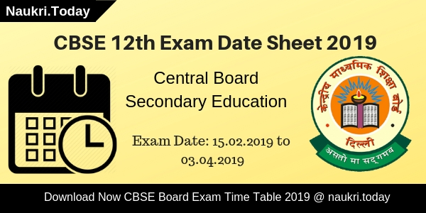CBSE 12th Exam Time Table