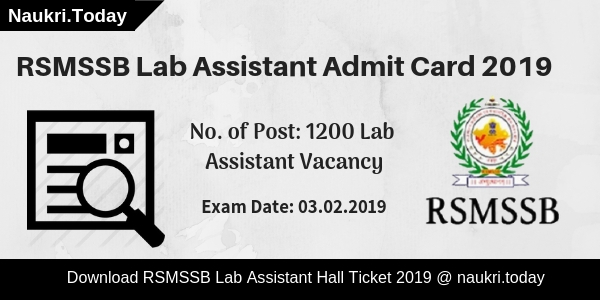 RSMSSB Lab Assistant Admit Card