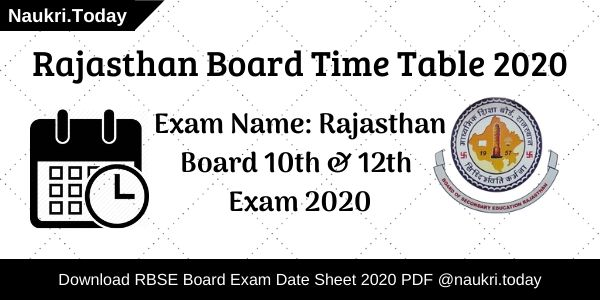 Rajasthan Board Time Table