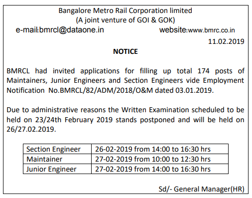 BMRCL Exam Date