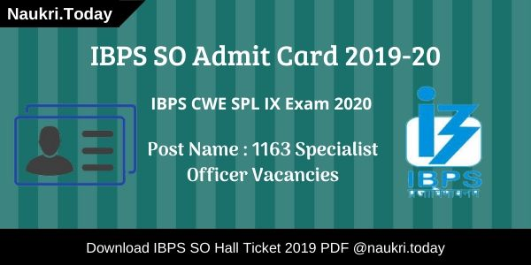 IBPS SO Admit Card