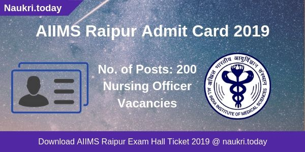 AIIMS Raipur Admit Card