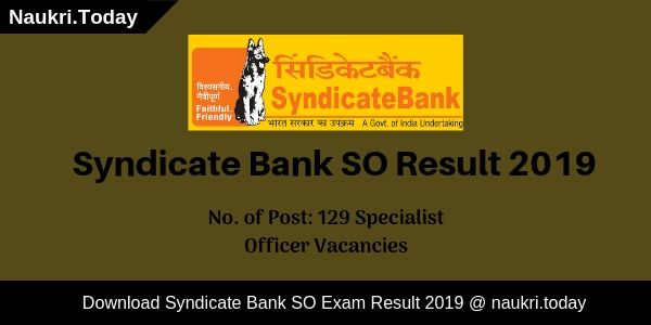 Syndicate Bank SO Result