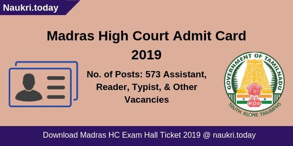 Madras High Court Admit Card
