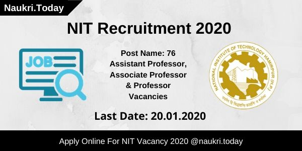 Nit Selection Show 2020.Nit Recruitment 2020 Apply Online For Hamirpur 76