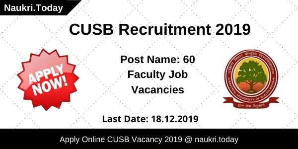 CUSB Recruitment 2019