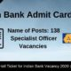 Indian Bank Admit Card 2020