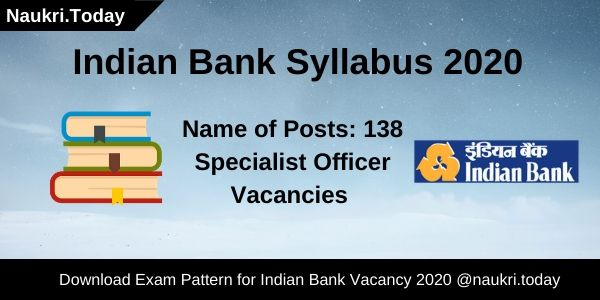 Indian Bank Syllabus 2020