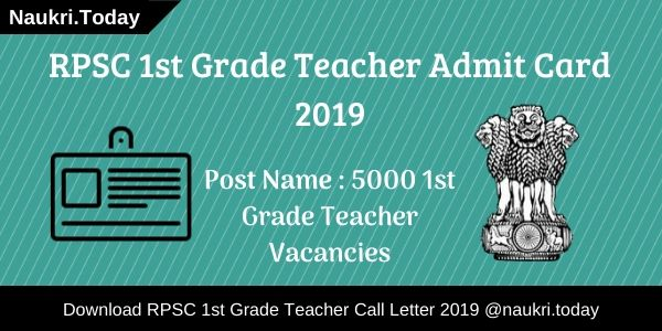RPSC 1st Grade Teacher Admit Card