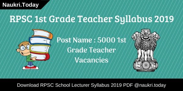 RPSC 1st Grade Teacher Syllabus