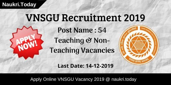 VNSGU Recruitment 2019