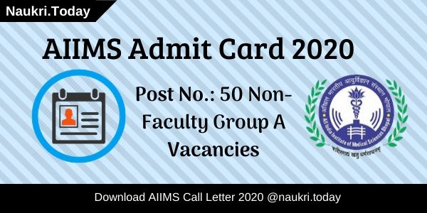 AIIMS Admit Card 2020