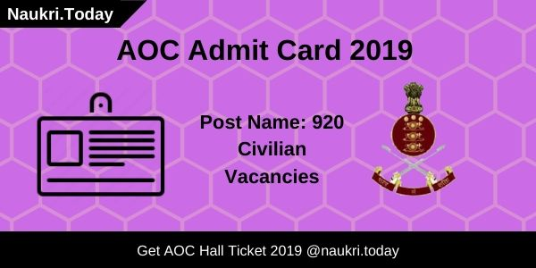 AOC Admit Card 2019