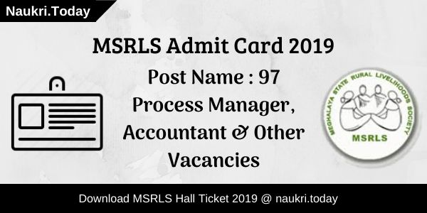 MSRLS Admit Card