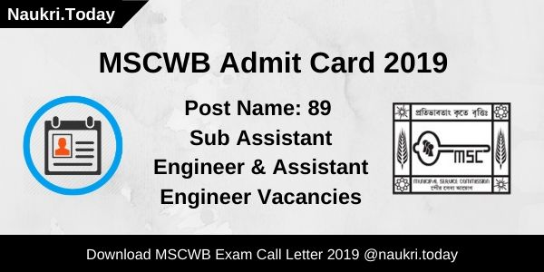 MSCWB Admit Card 2019