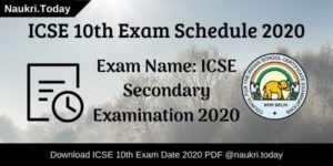 ICSE 10th Exam Schedule