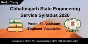 Chhattisgarh State Engineering Service Syllabus