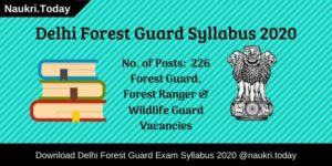 Delhi Forest Guard Syllabus
